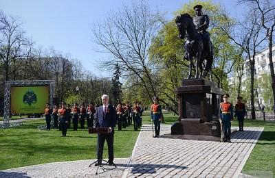 Мэр Москвы Сергей Собянин на церемонии открытия памятника маршалу Рокоссовскому