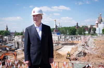 Мэр Москвы Сергей Собянин проинспектировал строительство парка ''Зарядье''
