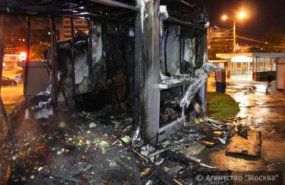 Пожар у метро Коломенская
