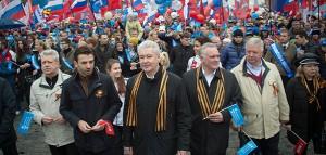 Мэр Москвы Сергей Собянин на первомайской демонстрации