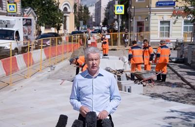 Мэр Москвы Сергей Собянин осмотрел ход комплексного благоустройства улицы Большая Ордынка