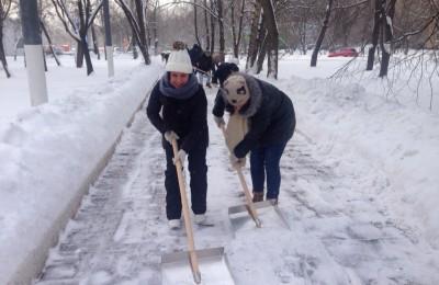 Активисты молодежной палаты помогли очистить от снега территорию Нагатинского затона