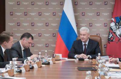 Мэр Москвы сергей Собянин на заседании президиумов правительства