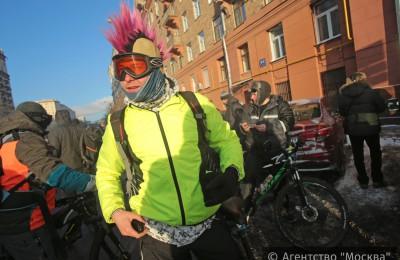 В Москве прошел второй зимний велопарад