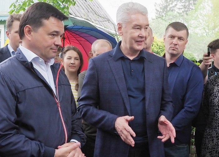 Мэр Москвы Сергей Собянин и губернатор Московской области Андрей Воробьев